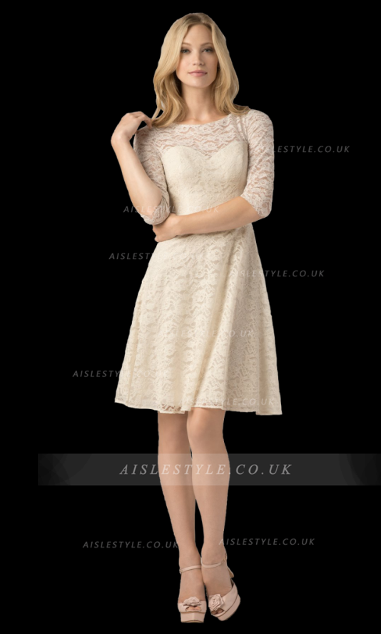 3/4 Sleeved A-line Knee Length Lace Designer Bridemaid Dress with Keyhole Back