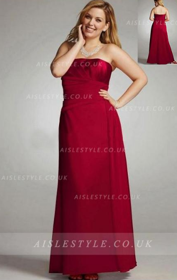 Chiffon Sleeveless Strapless A-line Floor-length Bridesmaid Dresses