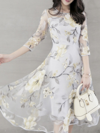 Floral Hollow Out Printed Chiffon Round Neck Skater Dress