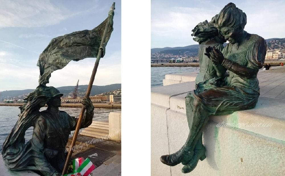 bersagliere e le ragazze di trieste statue sulle rive di trieste