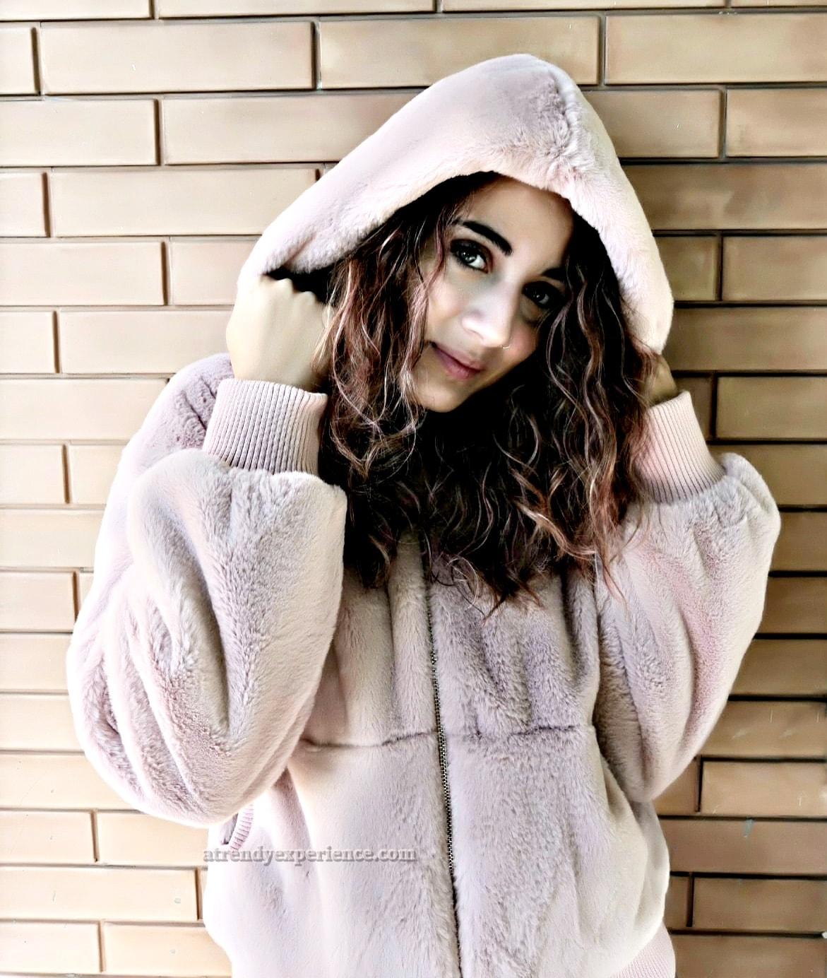 moda donna felpa pelliccia con cappuccio