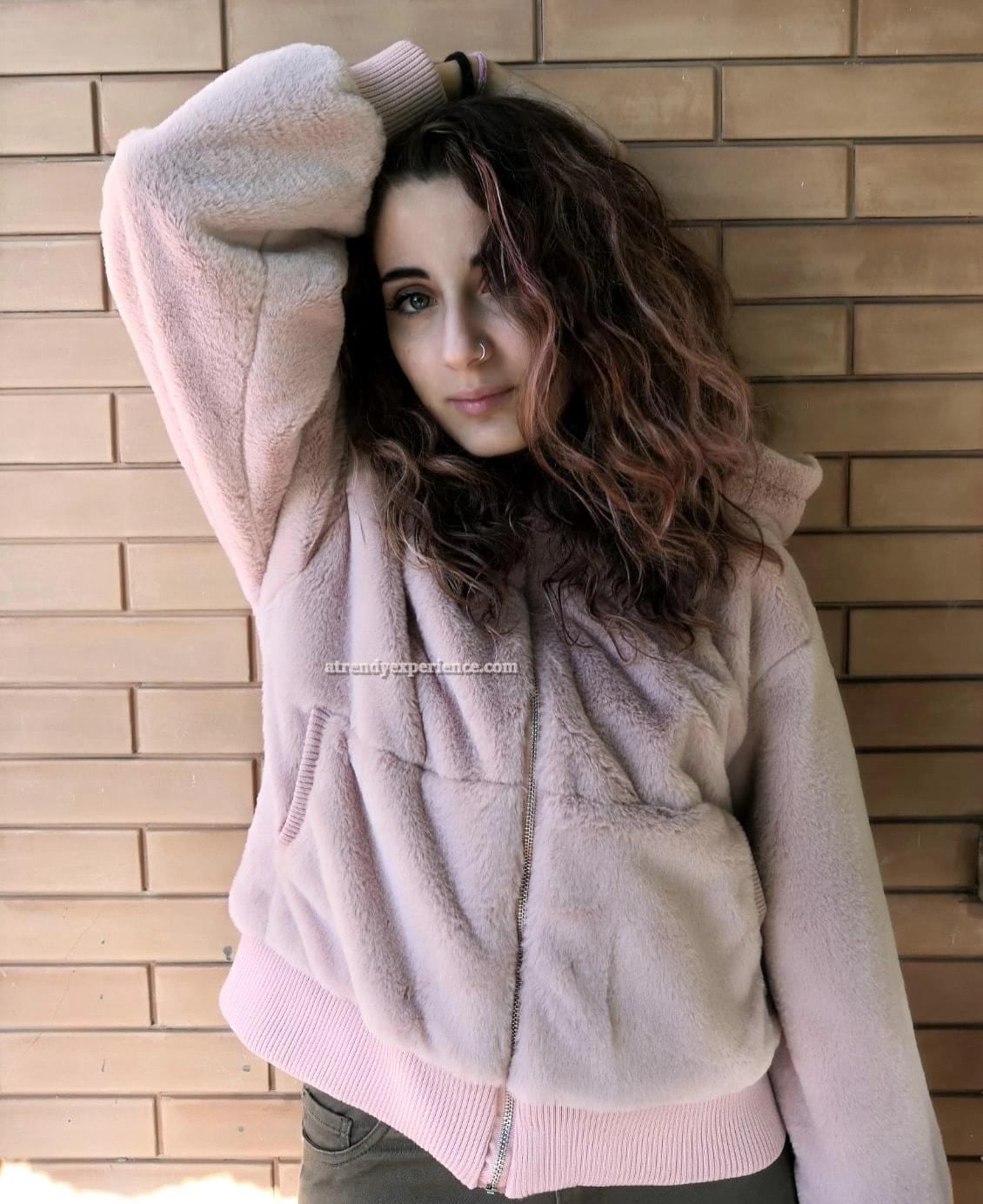 felpa pelliccia di moda colore rosa