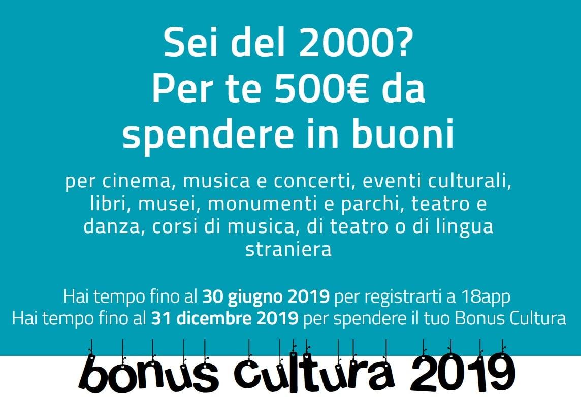 BONUS CULTURA 2019 : 500 euro gratis per tutti i diciottenni