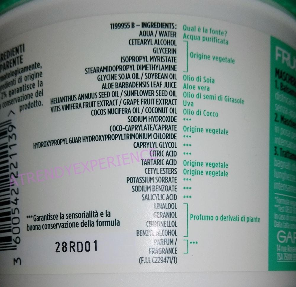 Garnier Fructis Hair Food Aloe INCI ingredienti