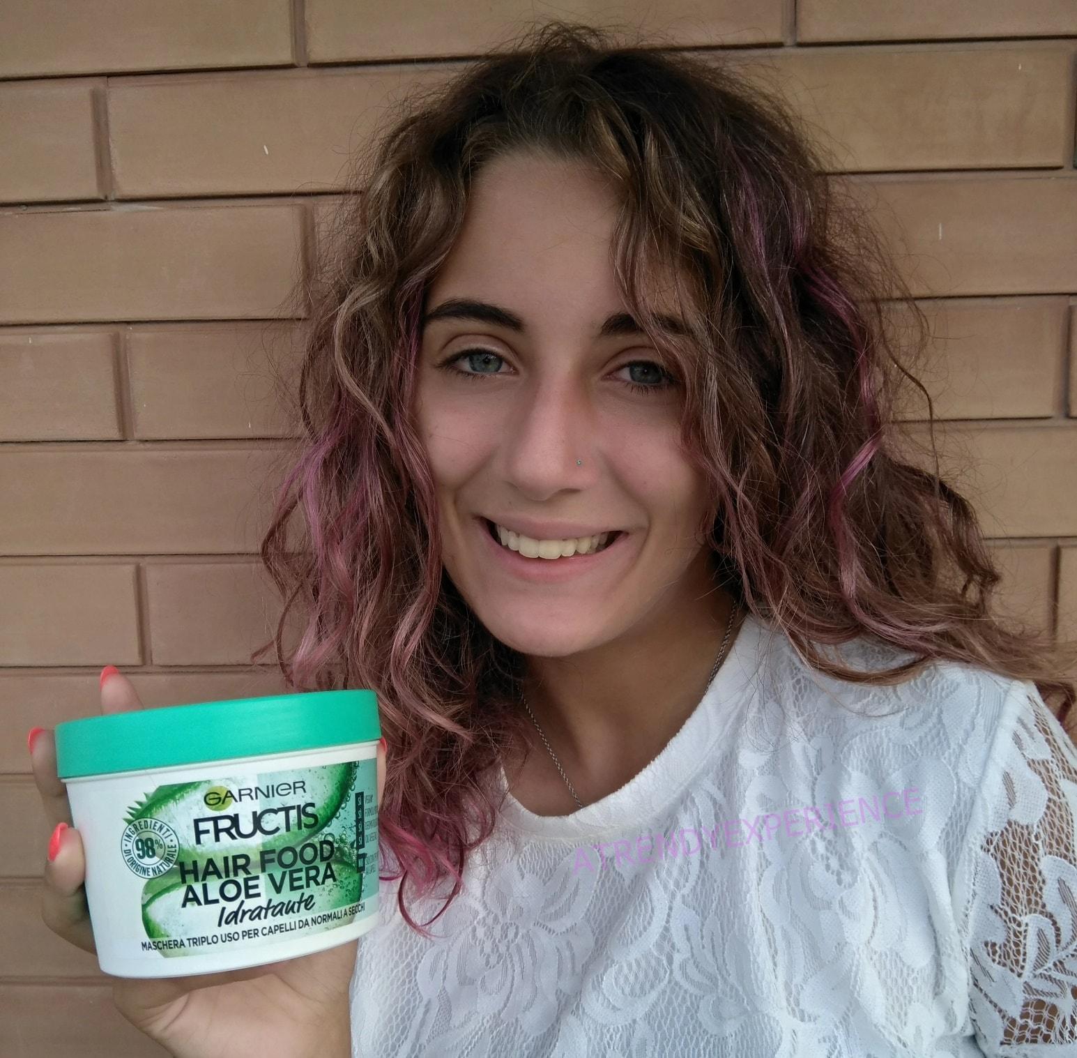Garnier Fructis Hair Food Aloe risultato su capelli parzialmente asciutti