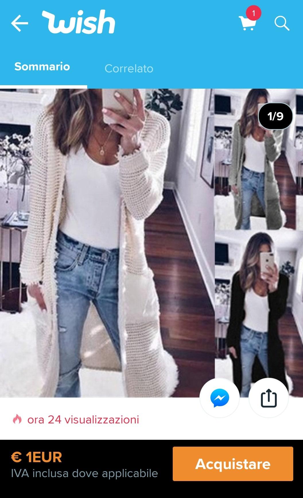 offerta lampo su wish del maglione