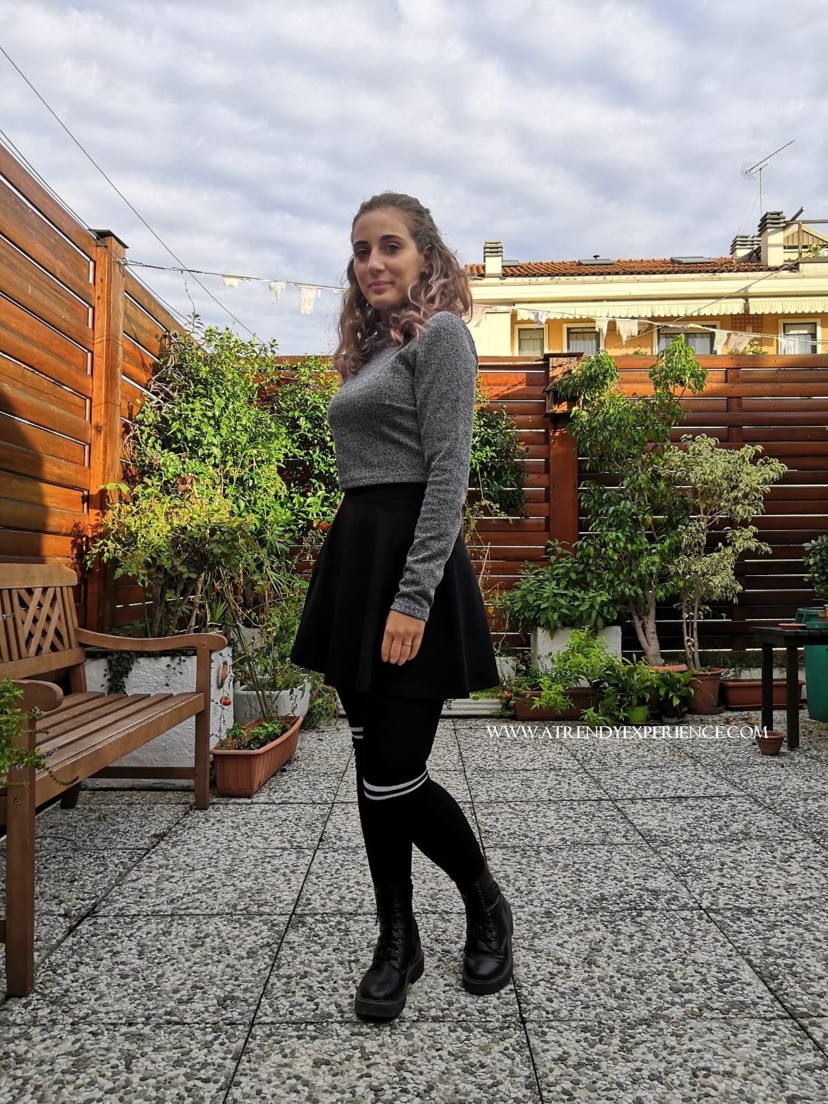 abbigliamento stile college con calze parigine moda autunno inverno