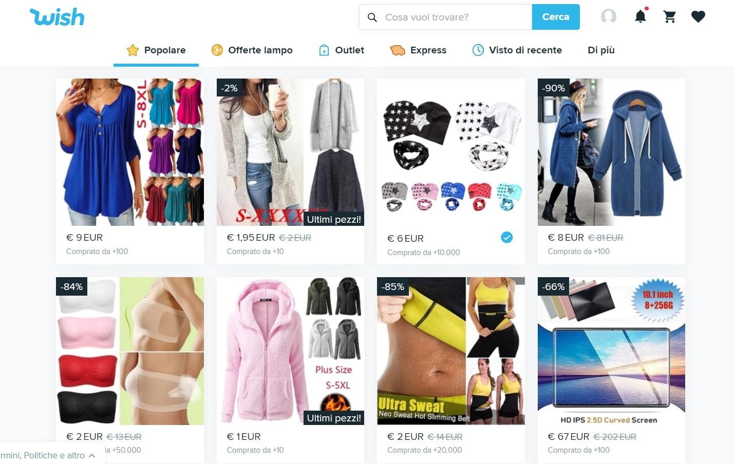 wish negozio online italia esperienza di acquisto