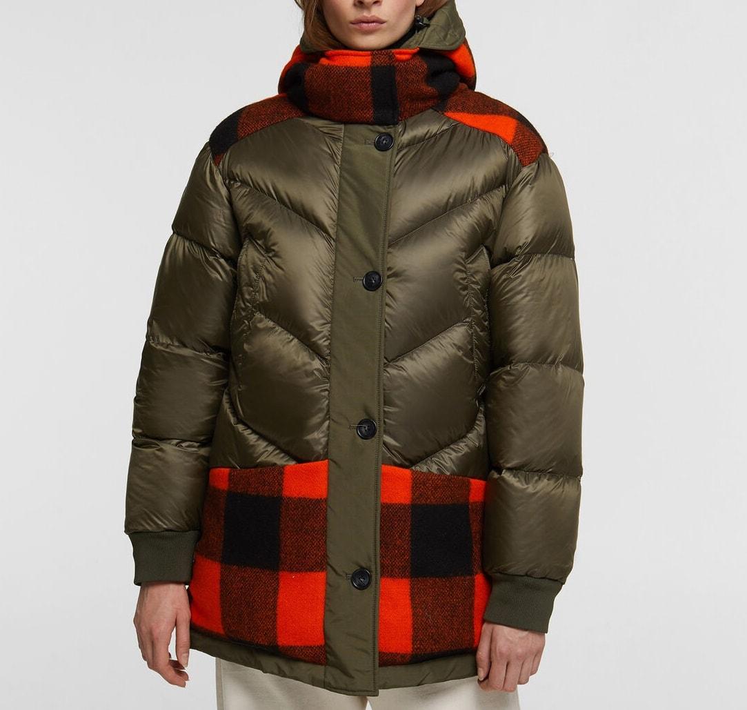 piumino donna autunno inverno 2019 2020 woolrich con parka con check reversibile