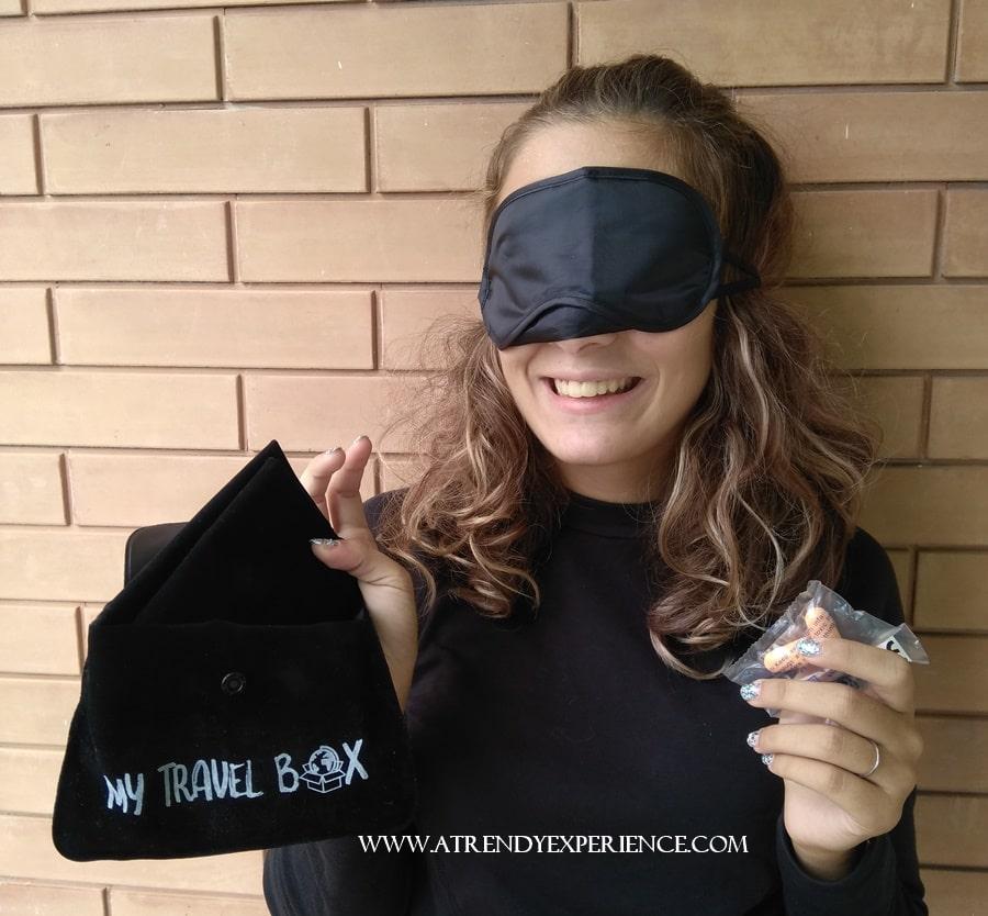 my travel box set da viaggio con mascherina tappi orecchie e cuscino gonfiabile
