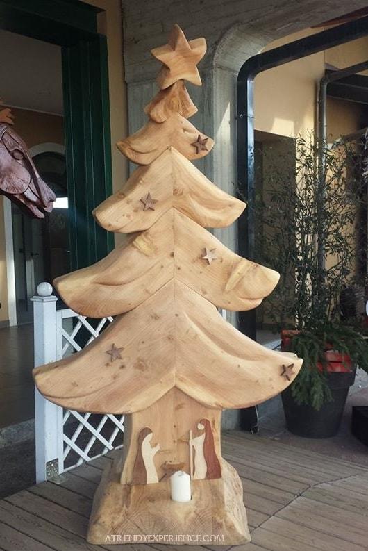 albero di natale artigianale in legno massello