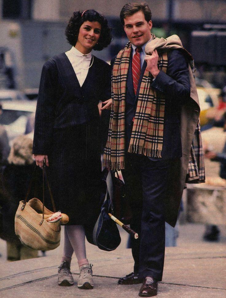 moda yuppie donna e uomo anni '80