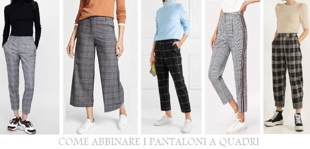 Pantaloni a quadri e sneakers abbinamento street fashion di tendenza