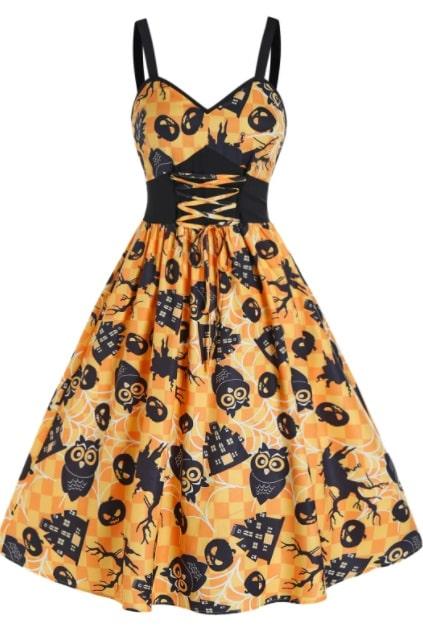 abito arancione con zucche case stregate gufi halloween
