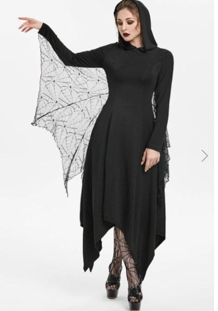 abito halloween con ali di pipistrello
