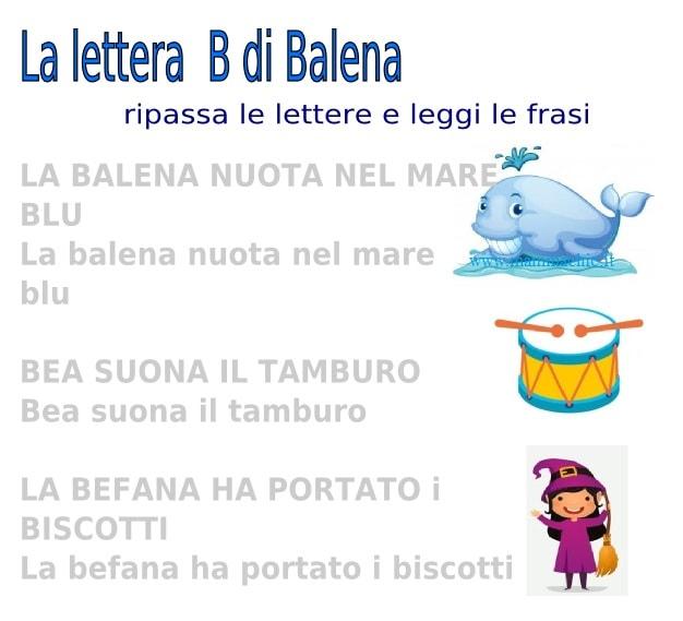 lettera B di balena frasi facili da leggere e scrivere