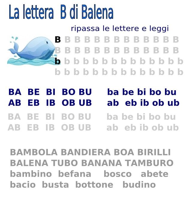 lettera B di balena parole facili da leggere e scrivere