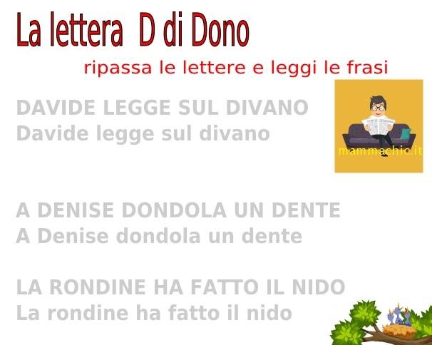 lettera D frasi facili da leggere e scrivere pregrafismi
