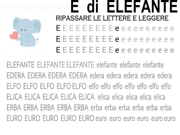 lettera E di Elefante parole e frasi facili da leggere e scrivere