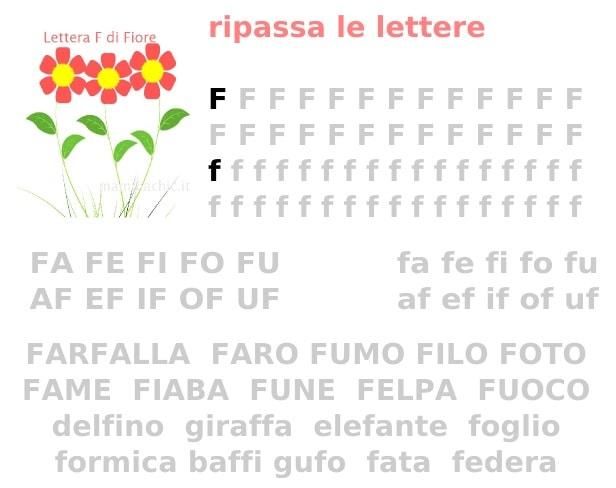 lettera F parole facili da leggere e da scrivere