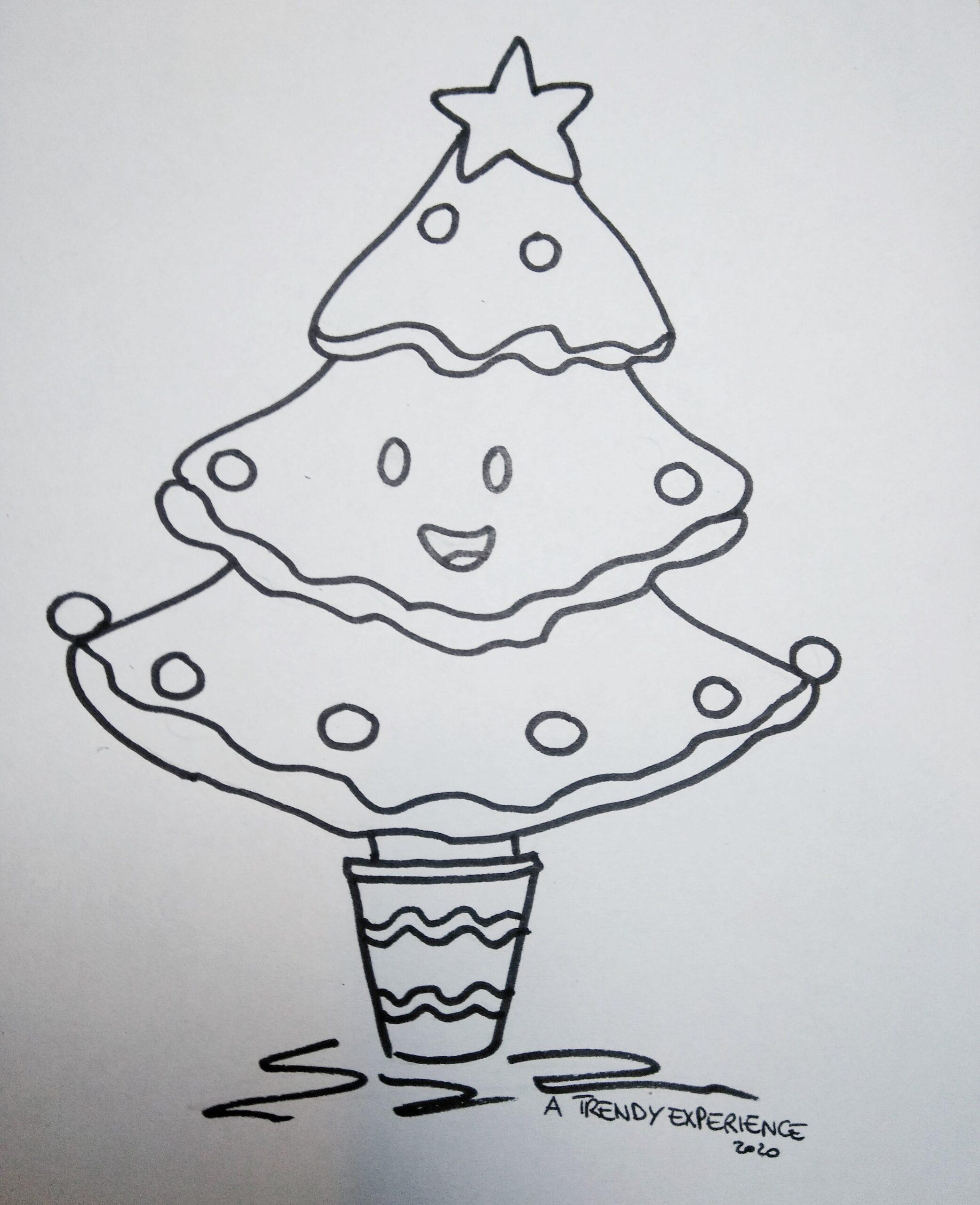 disegni natalizi albero di natale che sorride