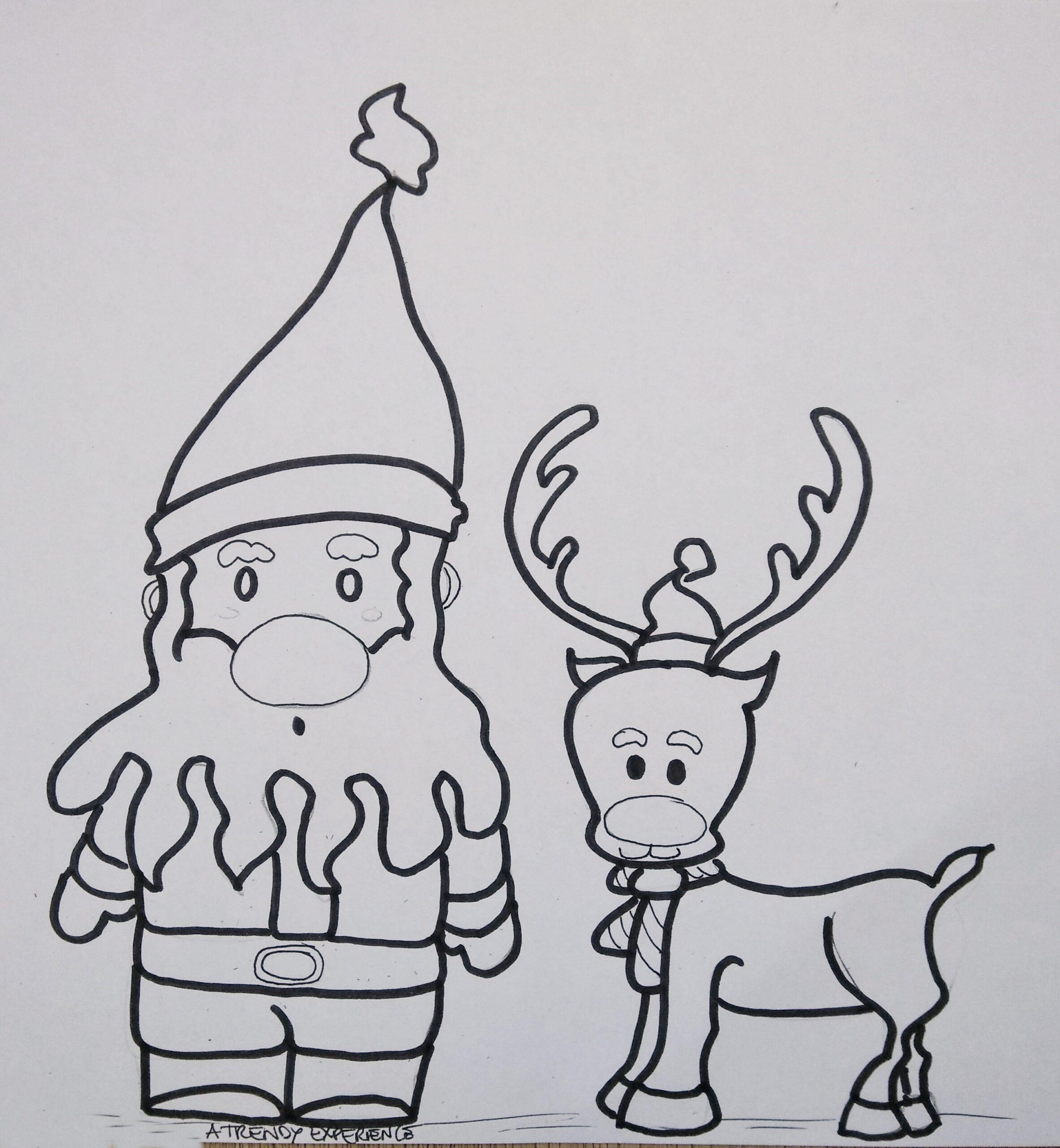 disegni di natale babbo natale e Freccia la renna