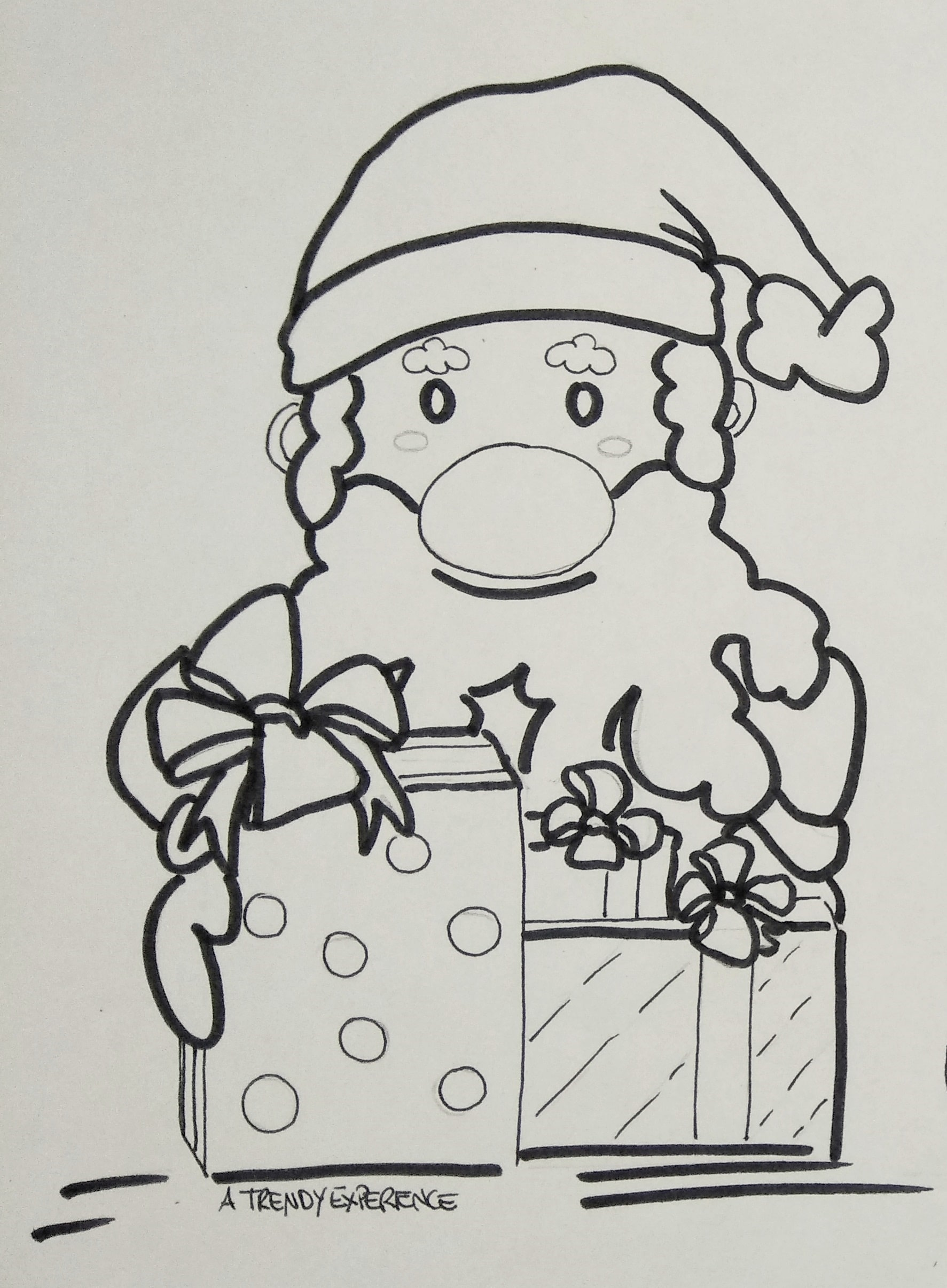 disegni di natale babbo natale porta i doni