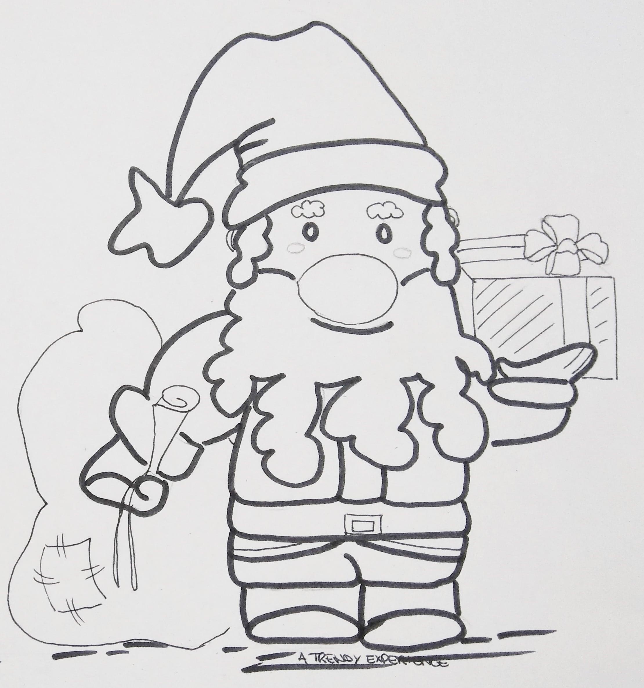 disegni natalizi babbo natale porta i regali