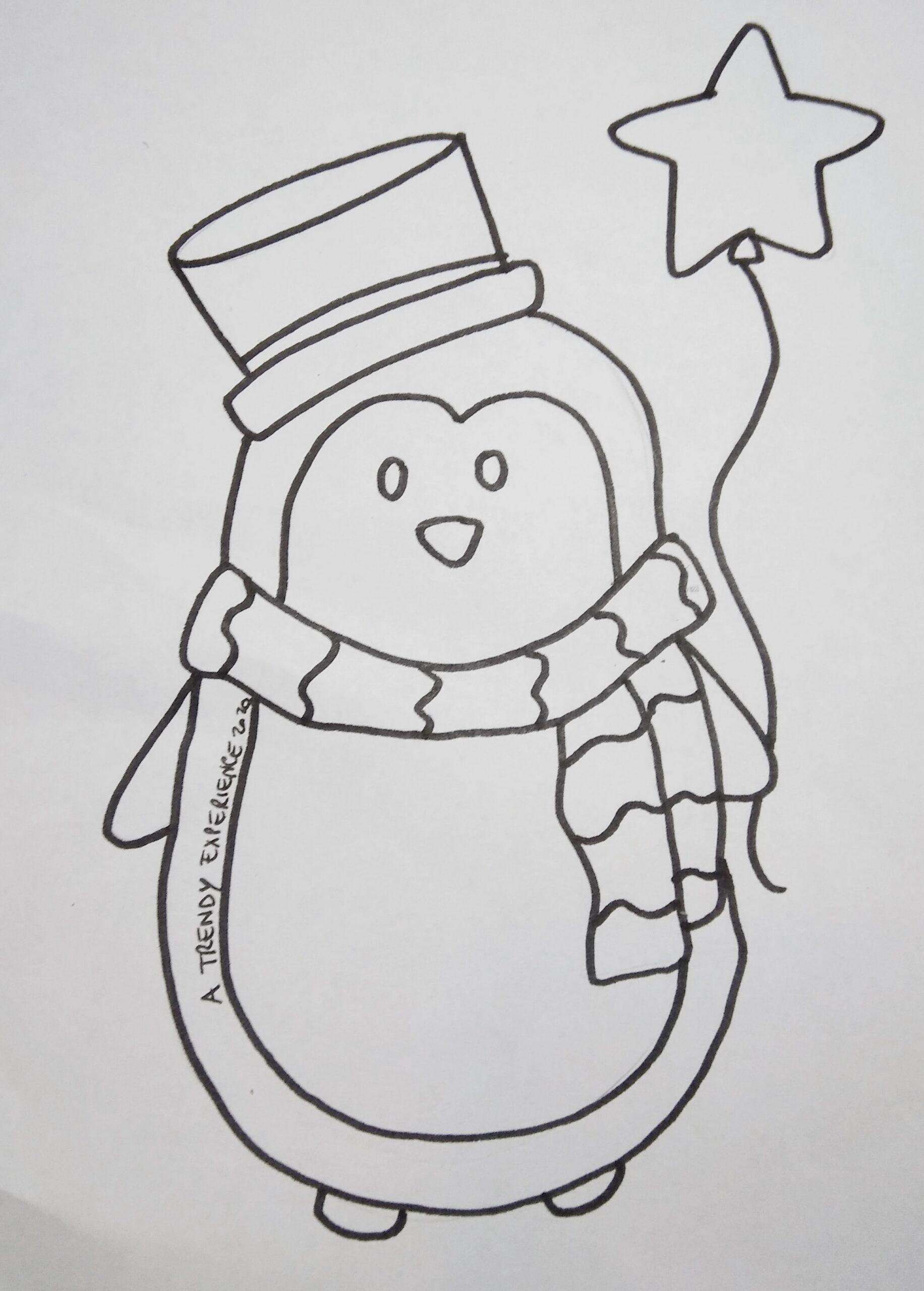 pinguini di natale disegno da colorare
