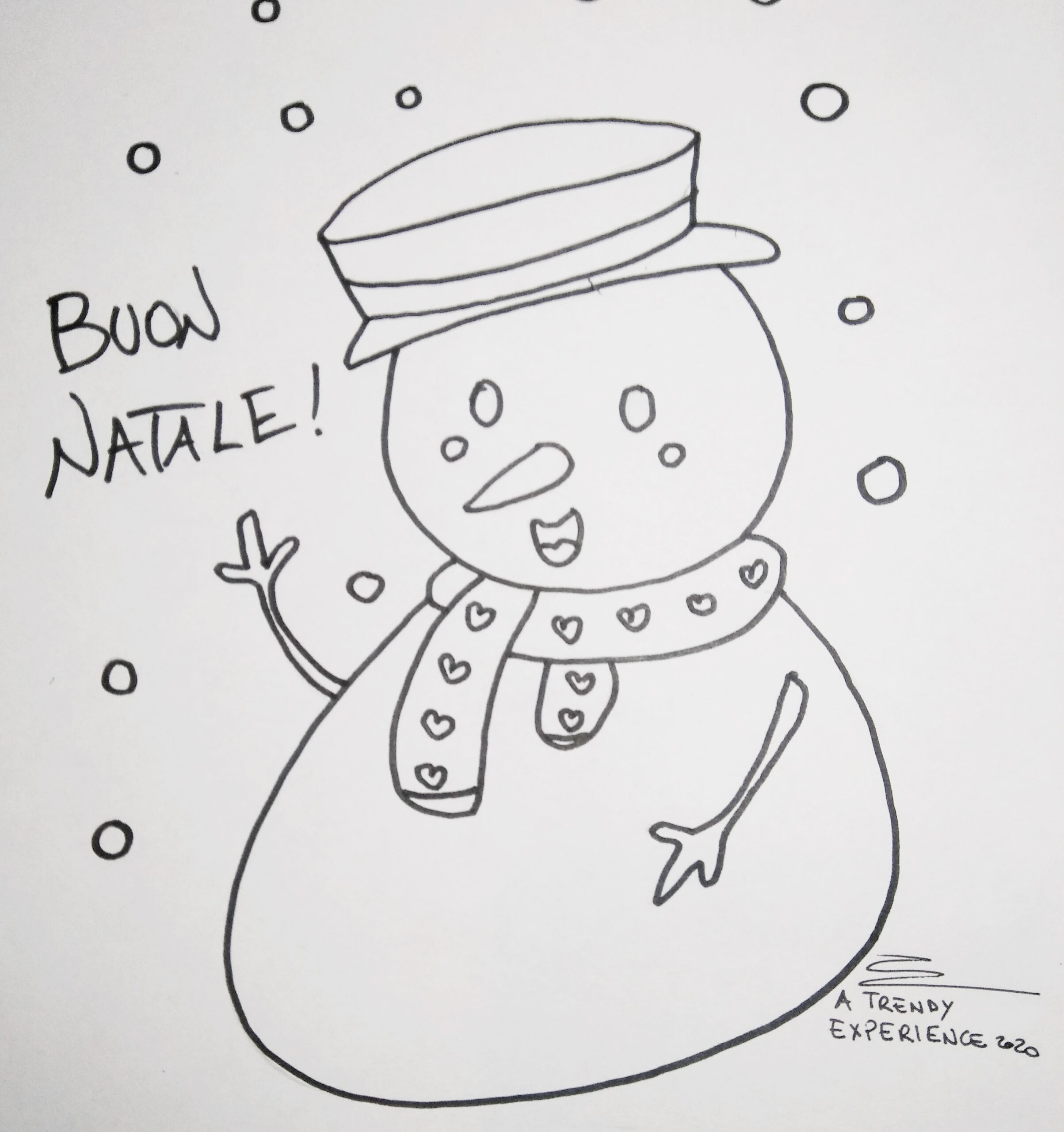 disegni di natale pupazzo di neve