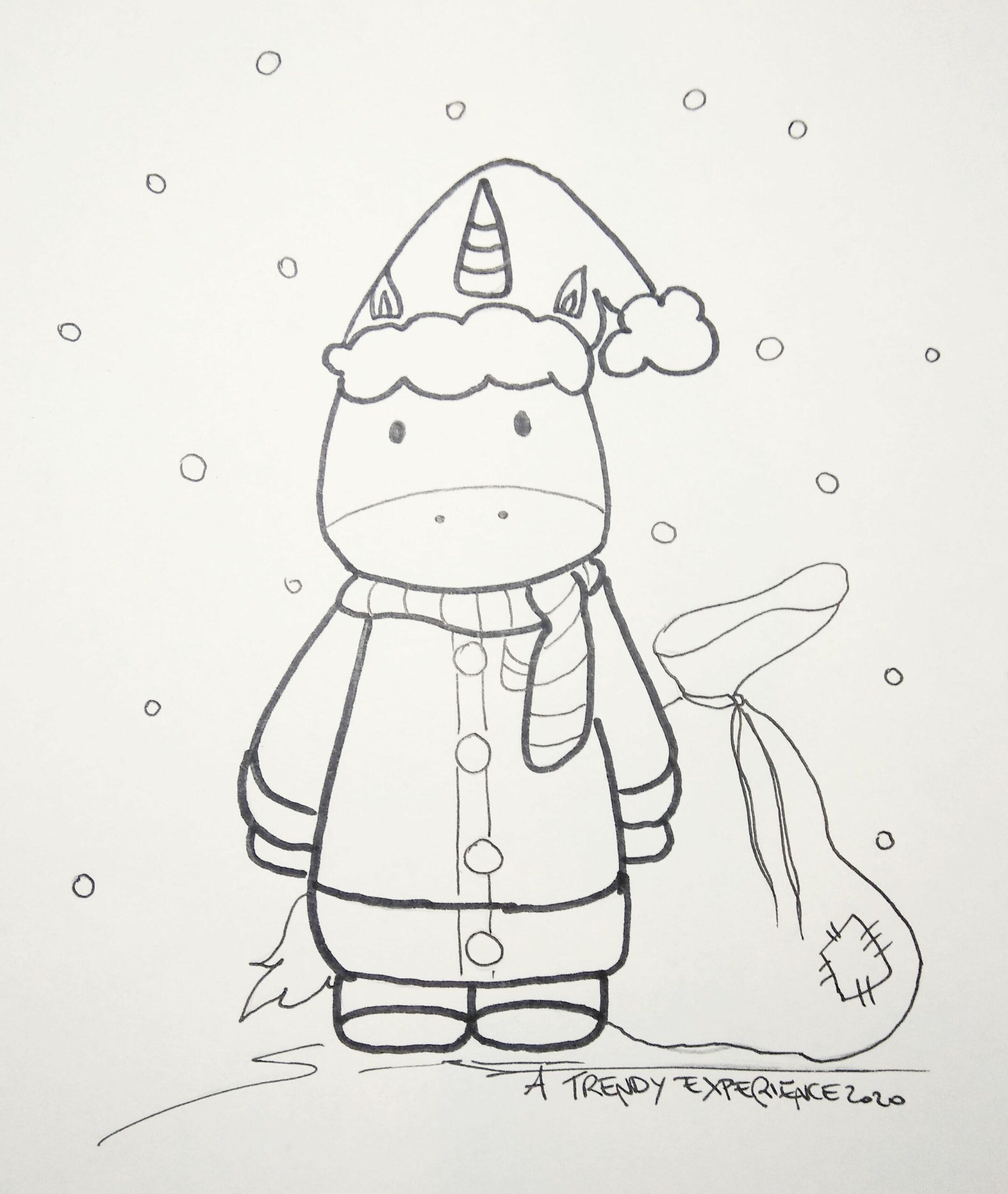 Unicorni natalizi con sacco di regali disegni da colorare