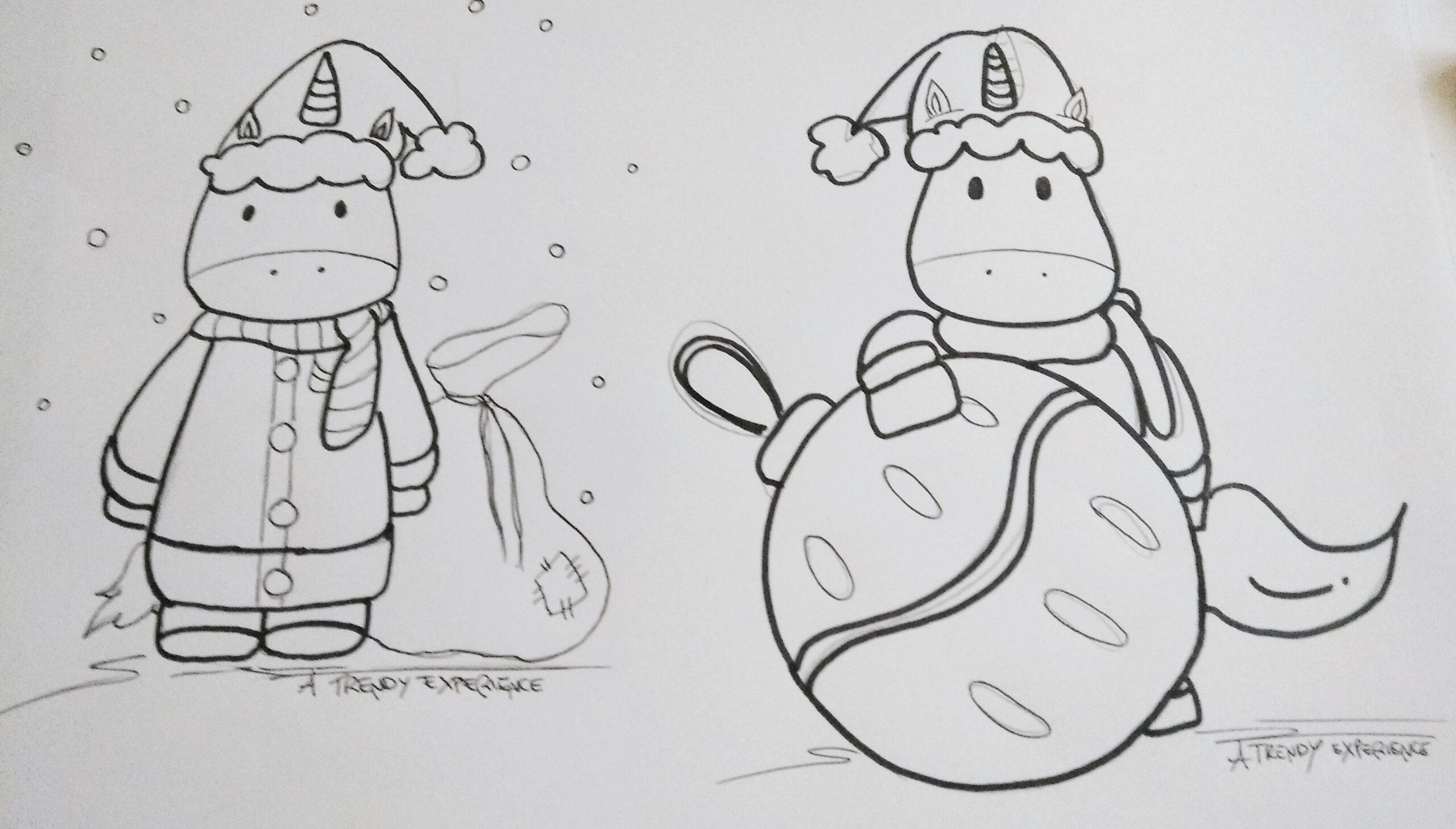 unicorni natalizi in fase di realizzazione