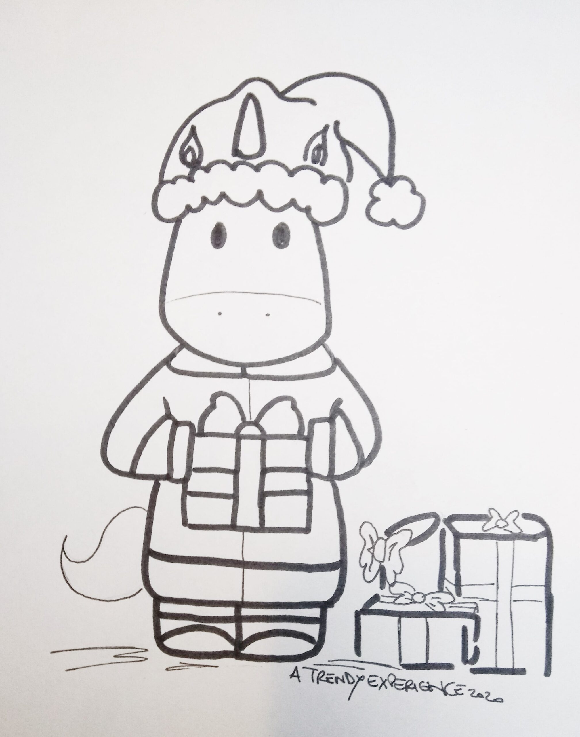 unicorni natalizi che portano i regali disegno di natale da colorare