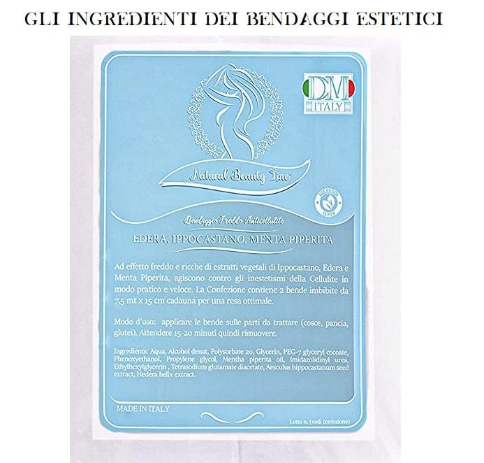 bendaggi estetici drenanti Natural beauty line ingredienti